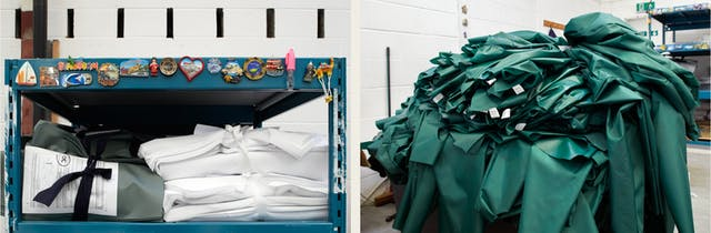 Photographic diptych. The image on the left shows storage racking with white and green garment folded up and tied together with fabric ties. On the right is a pile of part made green medical scrubs.