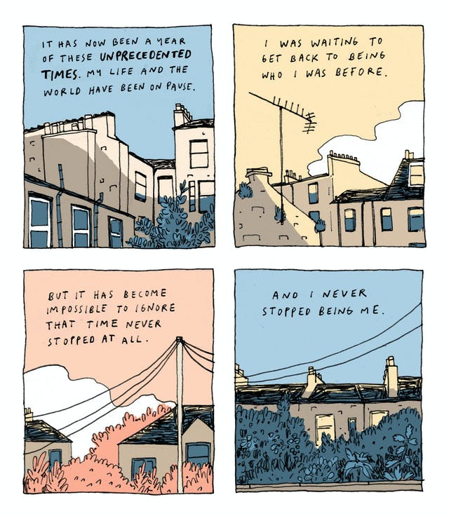 A four panel comic, each panel depicting a view of the Edinburgh skyline at different times of day. Handwritten text sits in the sky over the rooftops and clouds. First panel: It has now been a year of these