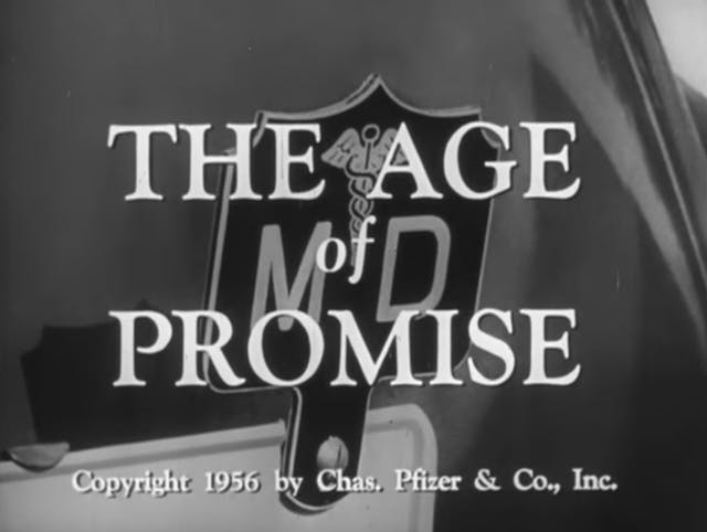 Black and white title page to old film reading: The Age of Promise.