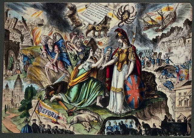 Image of lithograph depicting a non-realistic satirical scene involving classical looking women dressed up to represent Ireland praying to Britain