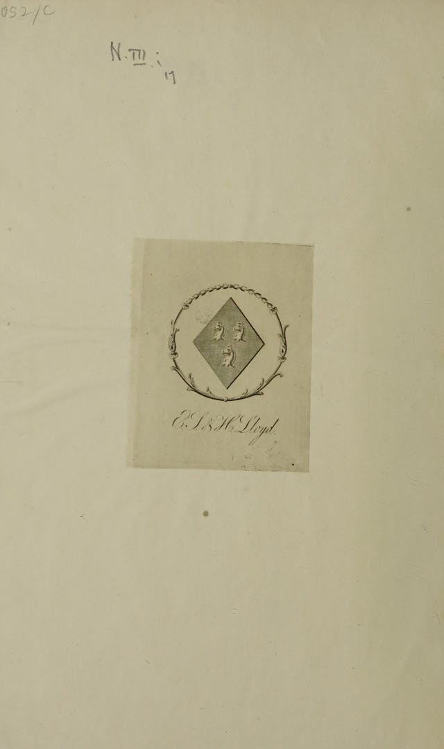 Bookplate depicting a diamond shaped coat of arms with three horses
