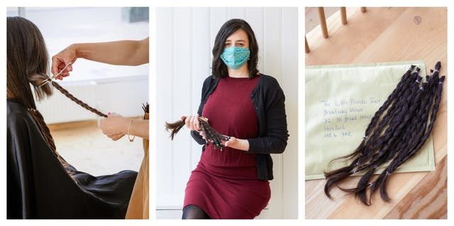 Photographic triptych. The image on the left shows a woman with long brown hair reaching almost down to her waist sat in a chair with a hairdressing cape over her shoulders. Standing to her right in a brown hairdressing apron, black face covering and a transparent visor is a woman who is holding a length of plaited hair. She has a pair of scissors in her right hand in the process of cutting the plait off at the level of the seated woman