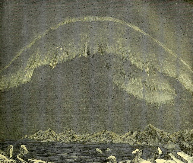 This illustration shows a display seen at Bossekop (in the west of Norway) in 1838.