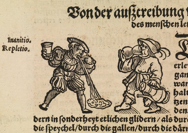 Woodcut image on manuscript showing two men, one of them vomiting, the other drinking