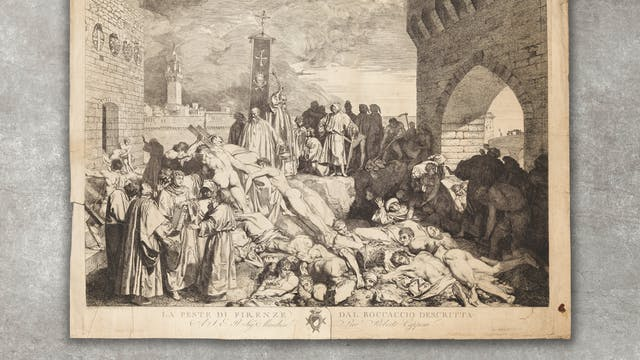 Black and white etching showing a large pile of bodies being dragged into a pit. People who appear from their robes to be monks perform rites or anxiously grasp bibles.