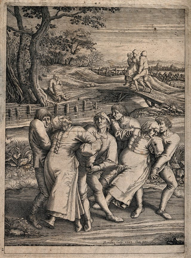 Engraving of women being restrained in a rural area.