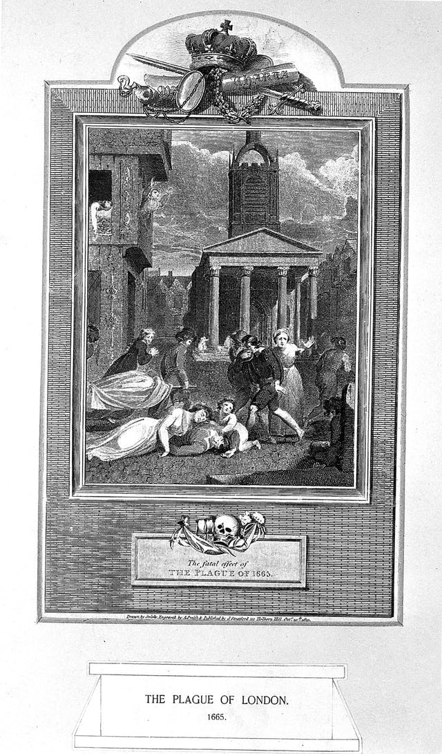 Black and white engraving showing bodies on the street and being carried away on stretchers whilst people passing look worried and cover their faces with scarves.