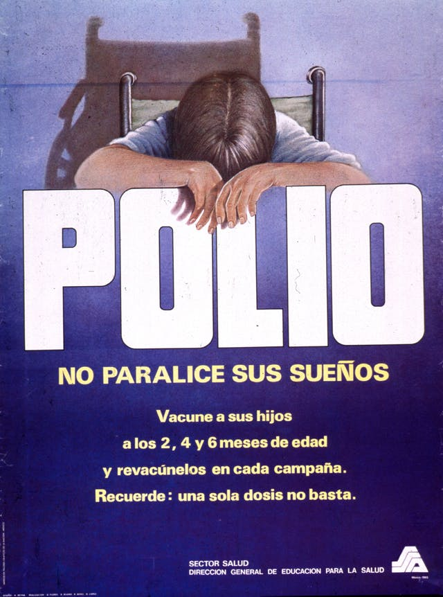 "Predominantly blue poster with white and yellow lettering. Visual image at top of poster is an illustration of a person in a wheelchair slumped over the title word ""Polio."" Title below illustration, caption below title. Caption provides a schedule for polio vaccinations and a reminder that one dose of the vaccine is not enough."