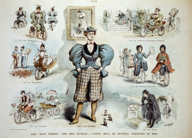 Postcard showing women wearing trousers and cycling to do their jobs such as visiting, delivering washing and visiting a dead husband