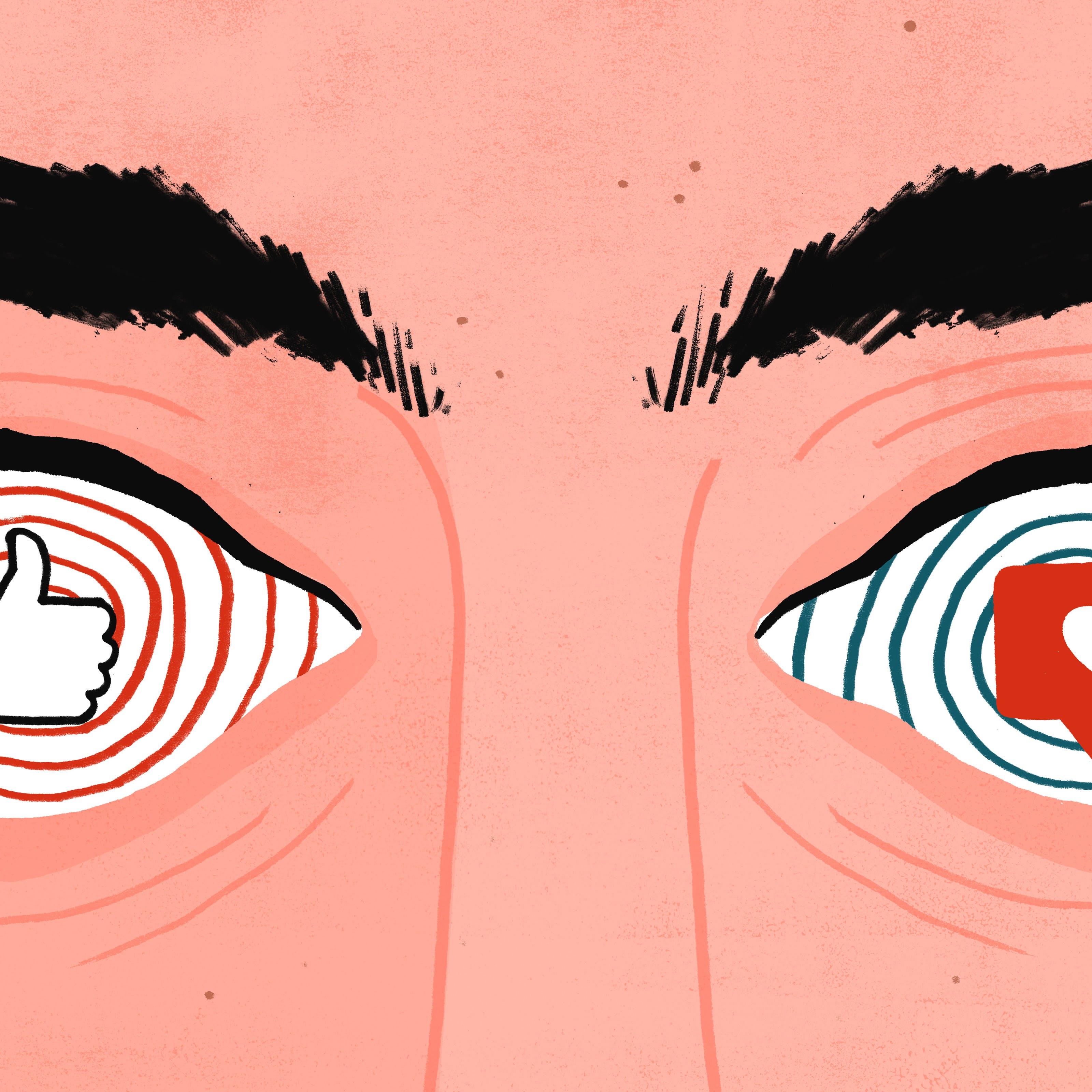 A person's eyes have been replaced with hypnotic spirals containing facebook and instagram 'likes'.