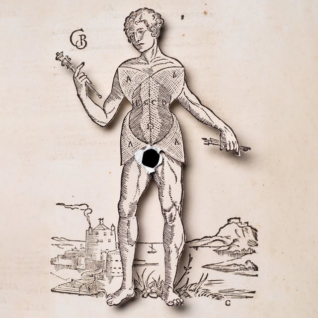 Photograph of an illustration of a naked man where the body of the man has been cut out and lifted above the background. Where the man