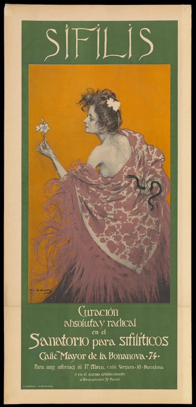 A woman representing syphilis; advertising Dr Abreu