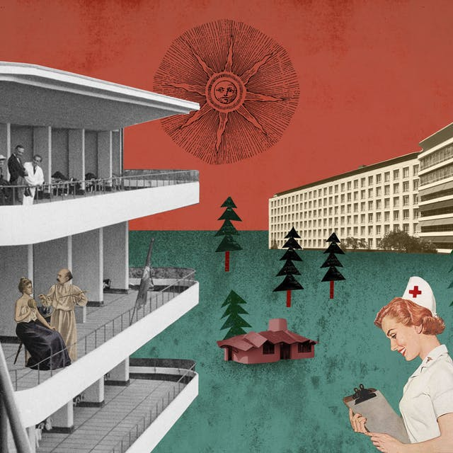 Collage illustration showing the Paimio Sanitorium in Findland, with people sitting on the balconies, enjoying the fresh air and with lots of pine trees around.