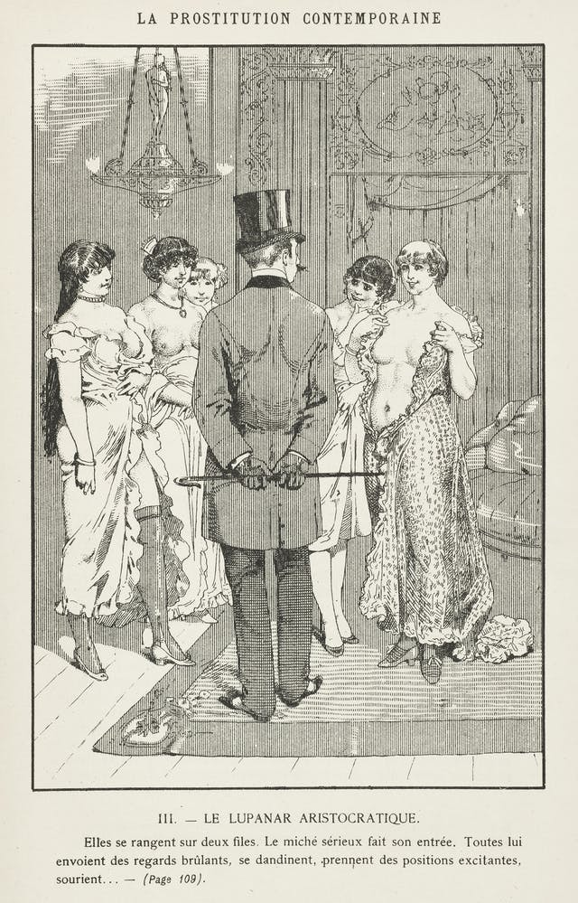 A well-dressed client inspects the prostitutes at a brothel