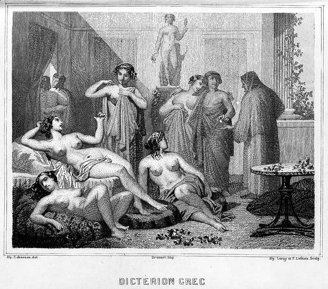 A  black and white drawing showing several females in a room half dressed in robes or fully undressed.