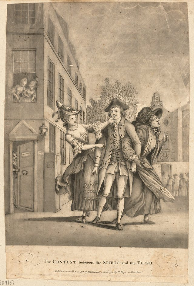 A Mezzotint drawing in black and white showing a man being tugged left and right by two women, one towards a church and another towards a brothel. Lettering beneath reads