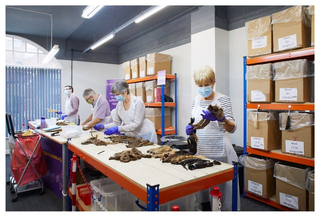 Photograph showing an indoor setting with a large industrial table and shelving coloured blue and orange. Behind the table are 4 individuals wearing white plastic aprons, face coverings and purple latex groves. They are each opening and sorting packages containing cut hair donations. On the tabletop are many groups of cut hair, ties or plaited together. There is a variety of hair coloured and types. On the shelves behind the people are large labelled cardboard boxes.