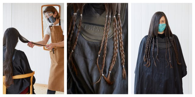 Photographic triptych. The image on the left shows a woman with long brown hair reaching almost down to her waist sat in a chair with a hairdressing cape over her shoulders. Standing to her right in a brown hairdressing apron, black face covering and a transparent visor is a woman who is holding a length of plaited hair. The image in the middle shows a close-up of the seated woman