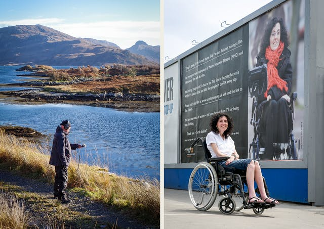 Photographic diptych. The image on the left shows a man standing in a remote mountain landscape next to a river or lake. He is wearing an outdoor coat, woollen hat and a pair of headphones. His left hand is help out in front of him holding a microphone. The image on the right shows a woman seated in a wheelchair outside, looking to camera. Behind her is a large billboard showing some text and a large photograph of the same woman. The text begins,