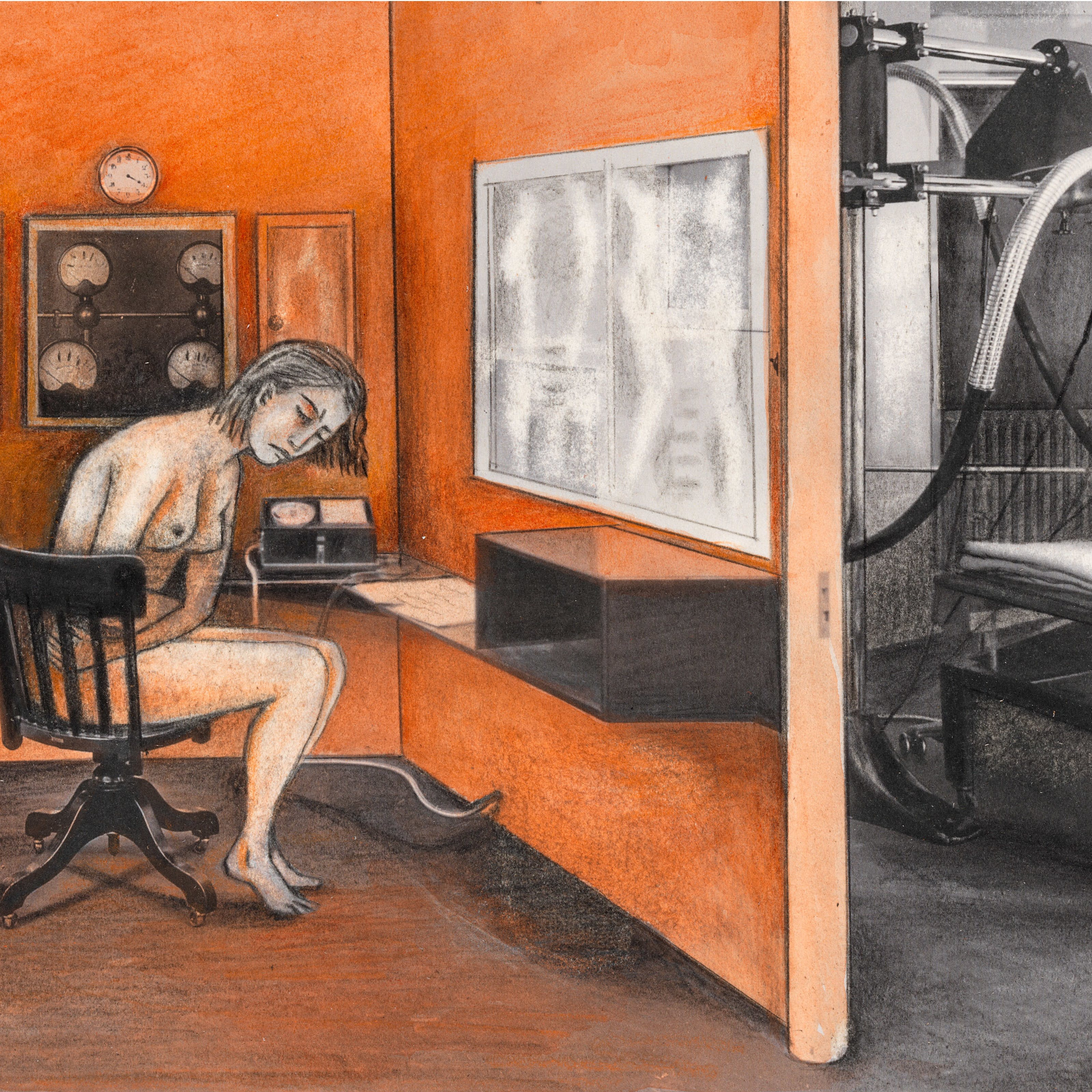 Collage and illustration of a hospital X-Ray room.  In the centre of the room is an unclothed woman sat on a black chair seemingly in pain with her eyes closed clutching her belly. Around her are various control boards with dials and x-ray like pictures on the wall.  Through a doorway on the right there is a hospital bed with various X-ray apparatus over it.  The image is primarily black and white, with the left side room having been coloured various shades of orange and red.