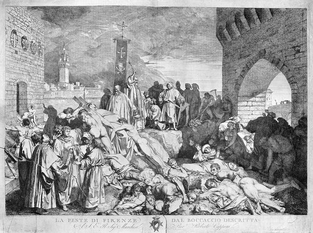 An etching depicting the plague of Florence in 1348, with bodies piled high.
