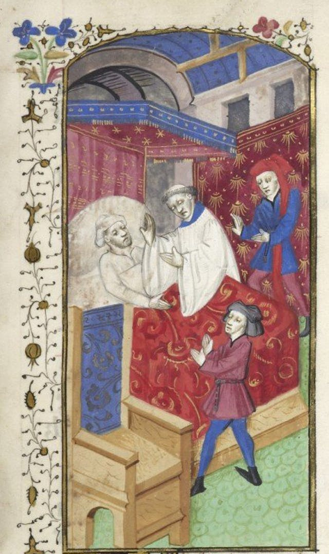 Miniature of a sick man in bed attended by a priest and two laymen, and illuminated initial. Image taken from f. 86 of Le livre des bonnes moeurs (The book of good manners).