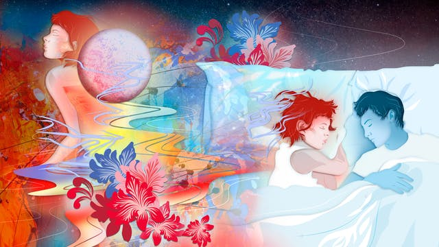 Digital artwork using a colourful, fantastical approach. The artwork shows a couple asleep in bed, on the right hand side. One of the couple is blue in tone, the other a warm red. Behind them is a cosmic, star scattered background. Swirling over and around her head, and out to the left side of the image are floral motifs and squiggly lines of reds, yellow, oranges and blues. In the top left corner is a moon-like orb and a repetition of the sleeping female figure, now seemingly awake, but with eyes still closed. The whole scene has a dream-like feeling to it.
