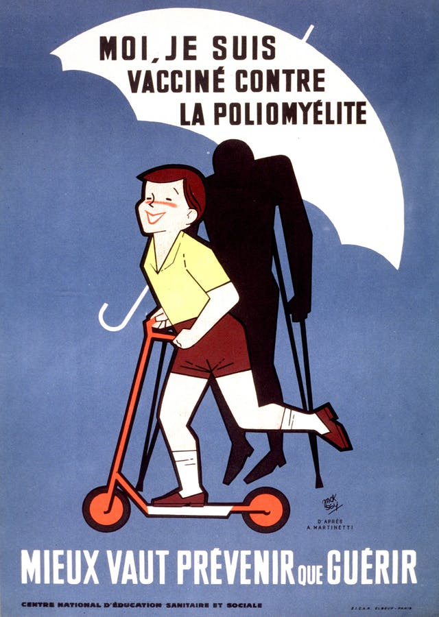 Poster of a young boy riding a scooter, with an umbrella over his head showing that he has been vaccinated against polio. The shadow of a person on crutches, not under the protection of the umbrella, is in the background.