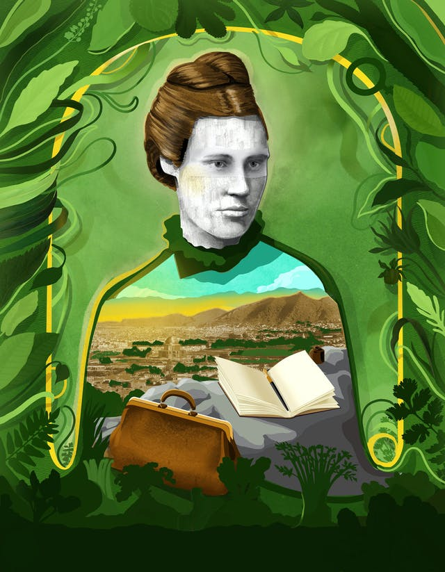 Illustration of Lillias Hamilton surrounded by greenery. In the space of her torso is one of her photographs taken in Afghanistan, and in front of her is a doctors bag and notebook.