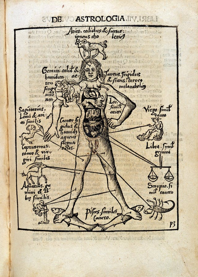 Diagram from 14th Century manuscript showing a male body with images from the zodiac