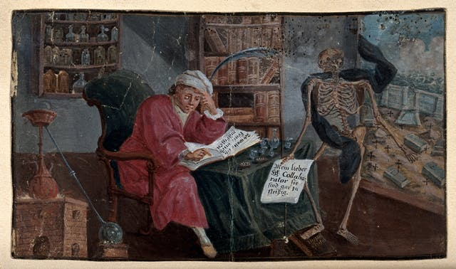 Colour painting showing a seated man reading, being addressed by a skeleton in a black cloak.