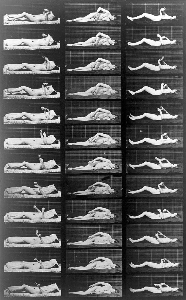36 sequential photographs of a naked woman having an induced