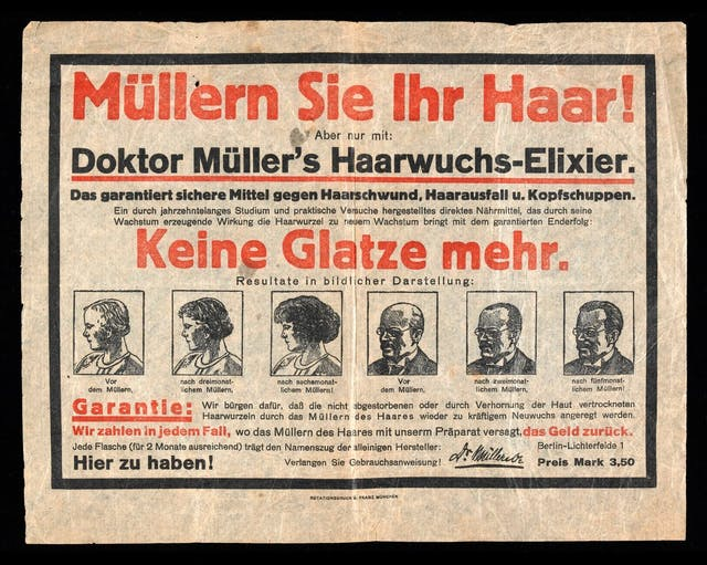 Early 1910s (?) leaflet printed in black and red on very thin paper advertising Doktor Müller