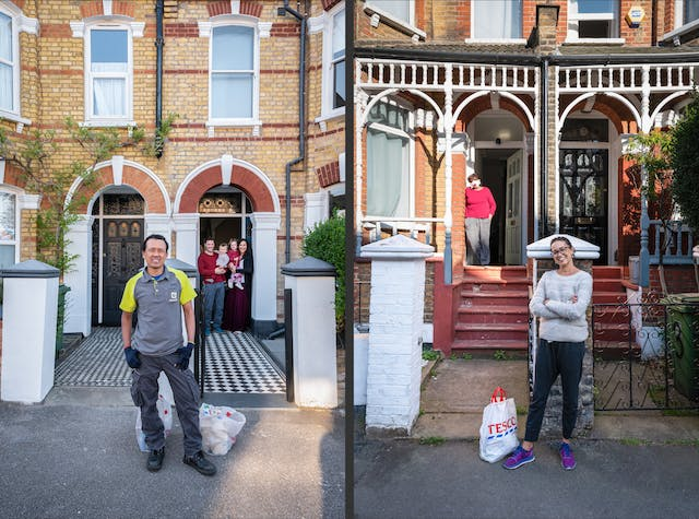 Photographic diptych both images showing the front door, front garden and front gate of a Victorian house. In the image on the left a family of a mother and father and 2 young children stand on the doorstep. A food delivery driver wearing gloves stands by the front gate with bags of shopping at his feet. In the image on the right a woman stand by the front door leaning against the wall, wearing a face mask. By the front gate a woman with her arms crossed smiles to the camera. At her feet is a bag of shopping.