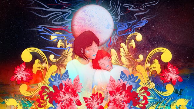 Digital artwork using a colourful, fantastical approach. The artwork shows a mother and daughter with eyes closed in an embrace, the daughter