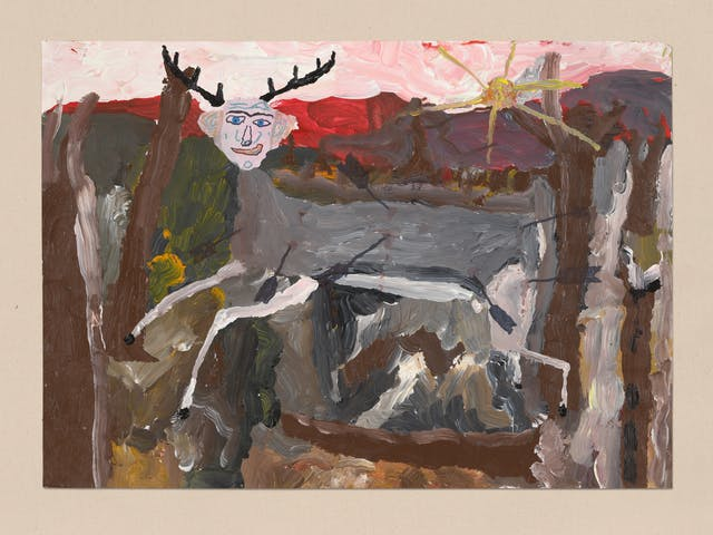 Acrylic on paper artwork by Chris Miller titled 'Me as the wounded deer'. In the artwork a deer with a human head is galloping towards frame left. The surrounding scene appears to be a war torn landscape.