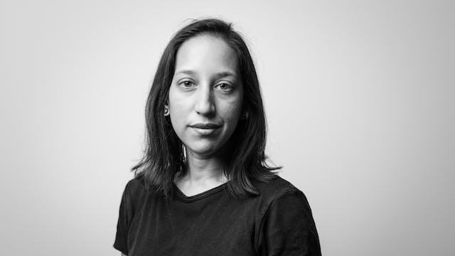 Photographic black and white, head and shoulders portrait of Bidisha SK Mamata.