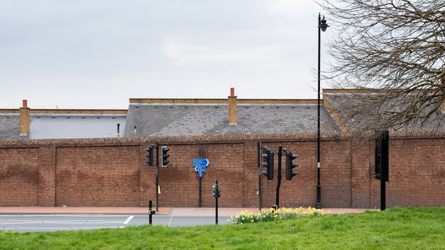 Photograph of a high redbrick wall running from left to right, in front of which is an empty road and a crossing with traffic lights and road signs. At the bottom of the image is a grass verge with a small crop of bright yellow daffodils.