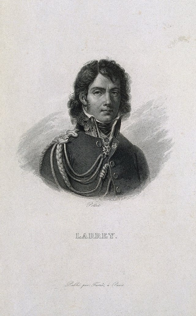 Dark etching portrait of a man with curly hair and elaborate military coat.