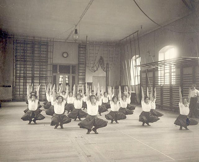 Womens class at the Ling Gymnastics Centre, Stockholm, 1910