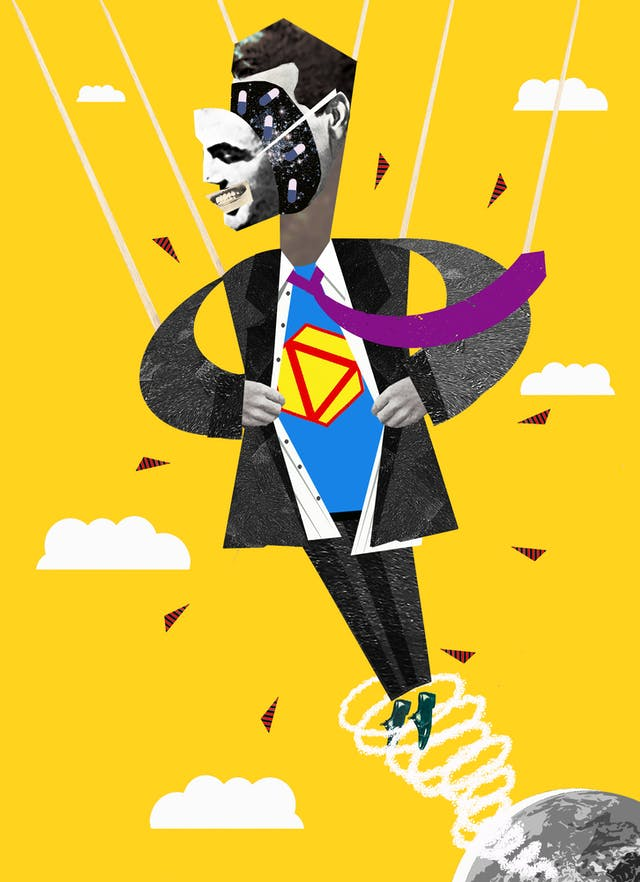 Illustration using a montage technique combining monotone photographs and colour graphics, showing a man zooming up from a small planet earth in the bottom right corner, pulling his shirt apart to reveal a superman type shirt underneath. Hi face is smiling and detached from his head as if a mask on a length of elastic. Inside his head are galactic stars and small white and blue pill capsules.