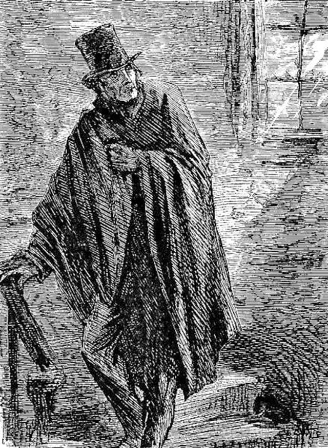 Monks aka Edward Leeford drawn as a shadowy figure with top had and cape