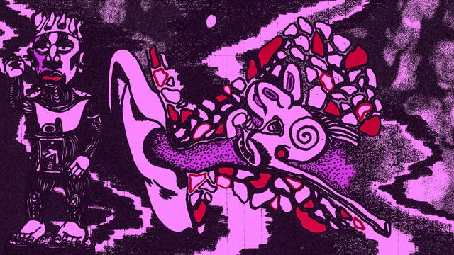 Illustration in black, purple and red tones, showing a cross section of an ear revealing all the internal elements. Inside the skull end of the cross section is a grainy image of faces in a crowd. Outside the ear is a drawing of a figure.