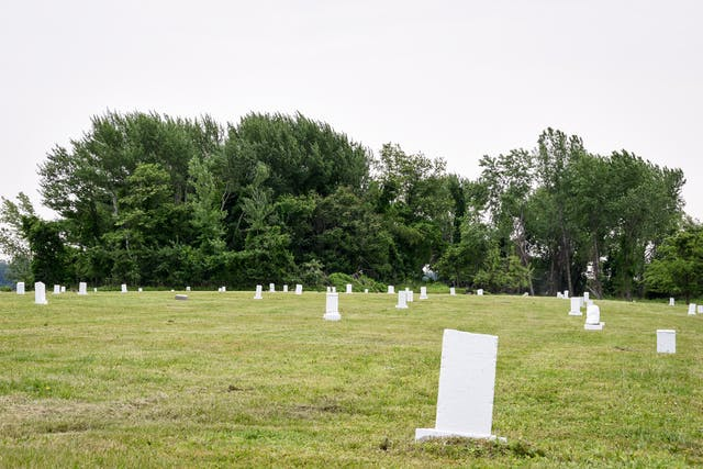 Photograph of an area of cut green grass leading up to a line of green trees in the distance. Scattered around on the grass are low white stone rectangular markers.