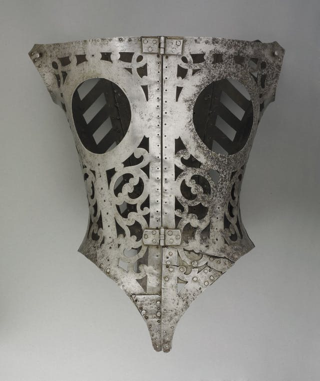 Metal perforated corset for a woman from Wallace Collection, London