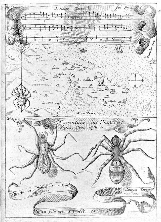 Black and white image of spiders and musical symbols