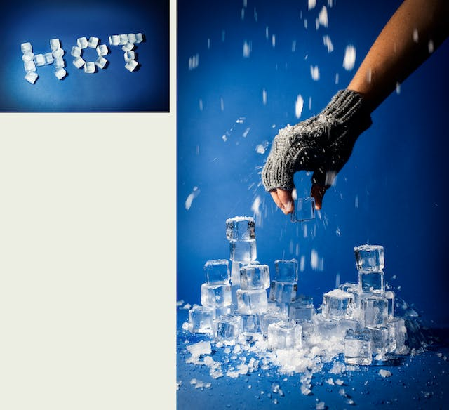 Photographic diptych, one large vertical image on the right and one smaller horizontal image on the left. The one on the right shows a pile of ice cubes, some whole, some crushed, resting on a blue background. Above the pile of ice is an arm and a hand wearing a fingerless woollen glove, holding one of the ice cubes. Showering down onto the hand and the ice are many fragments of ice. The image on the left shows the word