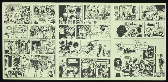 Black and white comic strip on green paper.
