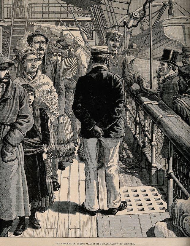 A ship in Brindisi, Italy during a quarantine examination for cholera, 1883