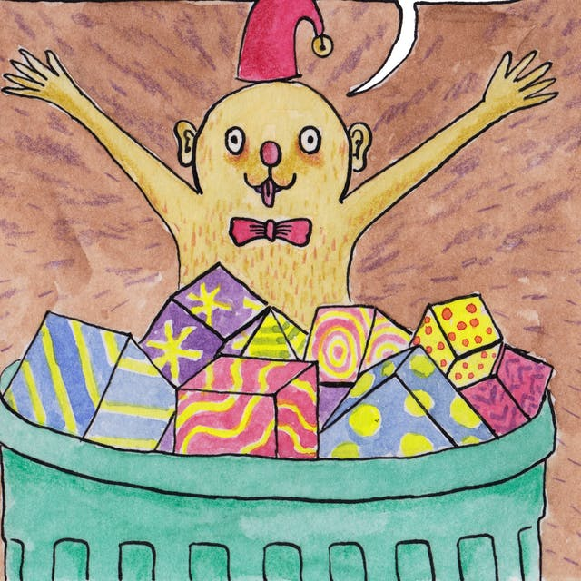 A slice of Gifts comic by Rob Bidder. Someone wearing a Christmas hat is leaping with their hands outstretched, from a basket filled with gifts.